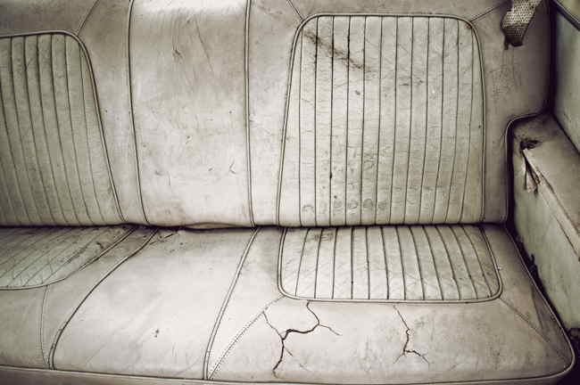 Very dirty backseat car seats